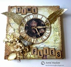 Astrid's Artistic Efforts for A Vintage Journey with the Time Flies challenge; Mixed Media Collage, Mixed Media Canvas, Collage Art, Altered Canvas, Altered Art, Atc Cards, Scrapbooking, Diy Scrapbook, Recycled Art