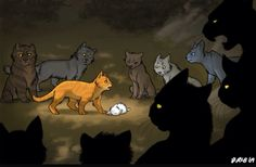 This is such a beautifully drawn picture of Fireheart bringing Cloudkit to the camp