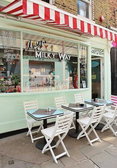 Issy's Milky Way | Islington, London #red #white #awning #shop #restaurant #cafe