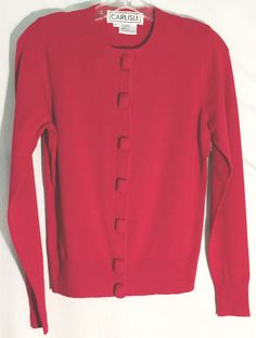 CARLISLE Red Sweater/Cardigan - Rectangular Covered Buttons - Gorgeous! - Small  #Carlisle #Cardigan #sweater #top #red #buttons #small
