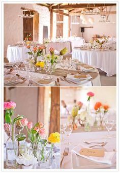 delicate tulip centerpieces