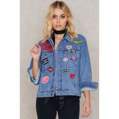 Zorannah for NA-KD Oversized Denim Jacket With Patches ($95) ❤ liked on Polyvore featuring outerwear, jackets, mid blue, patch jean jacket, oversized jacket, denim jackets, oversized denim jacket and oversized jean jacket