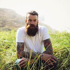 Steve Benson - full thick dark beard and huge mustache beards bearded man men mens' style bushy tattoos tattooed bearding