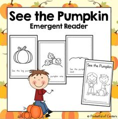 This is a great book to add to your pumpkin theme! The sight words included are: see & the.  It is perfect for your beginning readers! There are simple, repetitive sentences with ample spacing between words. The kids will love coloring the pictures and drawing a jack-o'-lantern at the end!No cutting required - just fold and staple!