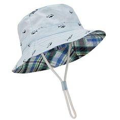Baby Boy Blue or White Bucket Sun Hat with Dinosaur Design 6-12m /& 12-18m