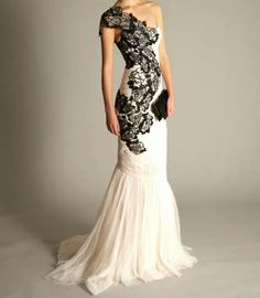 Wedding dress black lace