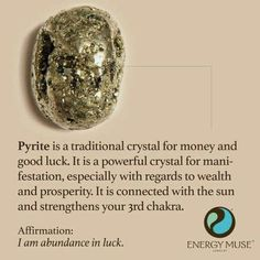 Pyrite is a traditional crystal for money and good luck. It is a powerful crystal for manifestation, especially with regards to wealth and prosperity. It is connected with the sun and strengthens your chakra Crystals Minerals, Rocks And Minerals, Crystals And Gemstones, Stones And Crystals, Gem Stones, Crystals For Luck, Crystals For Wealth, Ice Crystals, Crystal Healing Stones