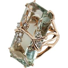 FEDERICA RETTORE Antique Cut Green Prasiolite Ring ($10,900) ❤ liked on Polyvore #jewelryrings