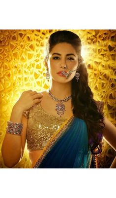 Blue Georgette Nargis Fakhri Style Bollywood Replica Sarees