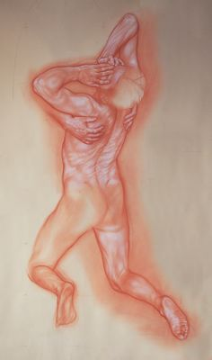 """nude: Study for """"the prodigal son"""" 2016 blood and white conté on paper by dusting cm 80x150"""