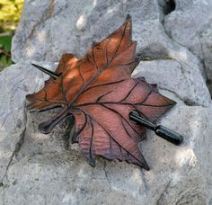 Maple Leaf Barrette  Leather Barrette  Barrette by SannaJewelry