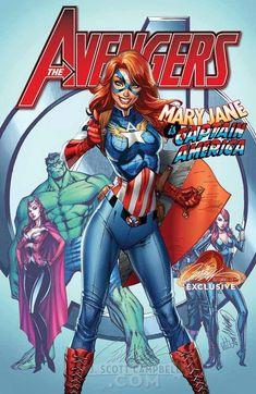 Avengers - Mary Jane - Captain America - J Scott Campbell Art Marvel Dc Comics, Hq Marvel, Marvel Girls, Comics Girls, Marvel Heroes, Marvel Cinematic, Comic Book Artists, Comic Book Characters, Comic Artist