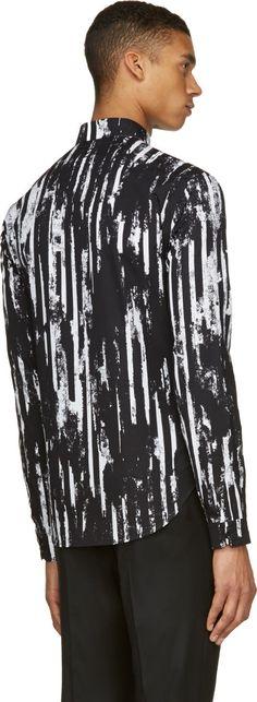 McQ Alexander McQueen Black & White Distorted Stripe Shirt
