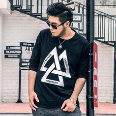 man t shirt long sleeve fashion brand men's man t shirt long sleeve fashion trangle print plus size t-shirt homme 2016 #Affiliate
