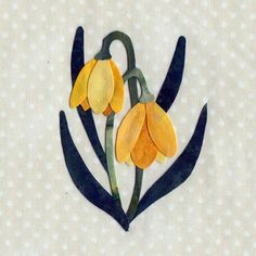"""Yellow Bells.  This is one of the appliques in the 25 different wild flower quilt.  $12 for drawing of all 25 flowers and border applique with instructions.  50x50 quilt with 6"""" applique blocks"""