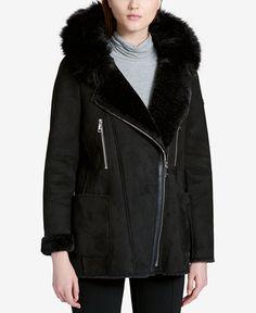 Calvin Klein Faux-Shearling Asymmetrical Coat