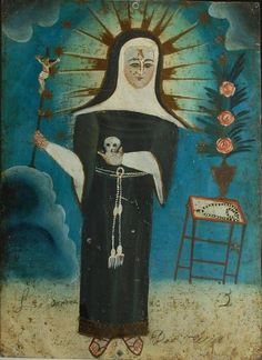 """Santa Rita de Casia"" attr: ""The Bulbous Head Painter"" Mexico. Oil on metal. ""A masterpiece of century Mexican folk art and rare example by, perhaps, the most unique of all the tin retablo painters. Religious Icons, Religious Art, Sainte Rita, St Rita Of Cascia, Art Beauté, La Madone, Colonial Art, Religion, Spiritus"