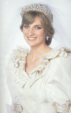 July 29, 1981: Prince Charles marries Lady Diana Spencer in Saint Paul's Cathedral. Princess Diana wedding earrings. princess diana wedding portrait