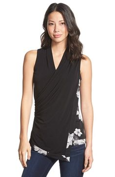 Ellen Tracy Draped Wrap Front Shell (Regular & Petite) available at #Nordstrom