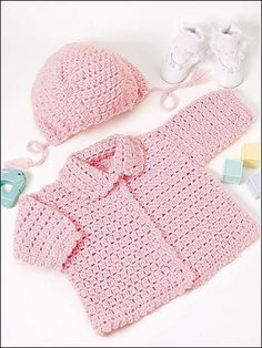 Crochet for Babies & Children - Crochet Kids Clothes Patterns The little girls in your family will look oh-so-cute dressed in this adorable pink sweater and hat. Fits child sizes: Instructions given fit 17 to 18 inch chest mos) Skill level: Intermediate - Crochet Baby Sweaters, Crochet Baby Clothes, Crochet Cardigan, Baby Knitting, Crochet Baby Cardigan Free Pattern, Crochet Jacket, Beanie Pattern, Crochet Bebe, Baby Girl Crochet