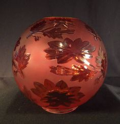 Pretty art nouveau fully etched fluted glass beehive oil lamp shade 1880s red pomona victorian art glass kerosene oil gwtw parlor ball shade mozeypictures Image collections