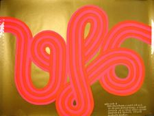 """HAPSHASH & THE COLOURED COAT.  """"UFO MK 2"""". Original Osiris poster silkscreened in gold, pink and red, announcing a season of Friday nights at the UFO club, beginning March 24, 1967     Sometimes referred to as the 'toothpaste' poster due to the dayglo pink and red cursive lettering (spelling out 'UFO') which appears as though it has been squeezed from a tube of toothpaste."""