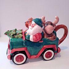 Santa Teapot Christmas Fitz And Floyd Omnibus 1993 Santa And Friends Car Vintage