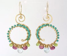 unique gold earrings - gemstone earrings - pink tourmaline, turquoise, aquamarine, peridot earrings - 14k gold filled earrings fine jewelry on Etsy, $180.00