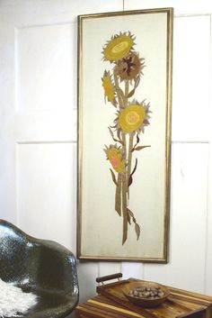 SALE MCM Sunflower Art for the Wall Vintage Paragon by fancypak