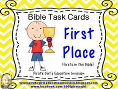 This is a set of 20 Biblical Task Cards that focus on firsts in the Bible (first color mentioned, first king, first sons, first commandment, first plague, etc). Each task card gives a reference to scripture for your students to look up and then record their answer.