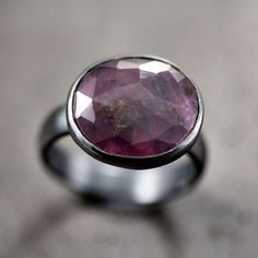 Purple Pink Sapphire Ring, Dusky Rose Cut Gemstone Statement Ring September Birthstone Sterling Silver Ring Sapphire Jewelry - Size 6