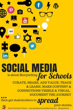 SocialMedia-for-Schools-Social Media FOR Schools: Developing Shareable Content for Schools  Read more at: http://langwitches.org/blog/2015/09/09/social-media-for-schools-developing-shareable-content-for-schools/ #ded318, #WeAreEdCats