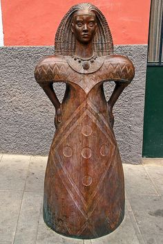 houseofeleggua: (via Galdar, Gran Canaria 2008 Mar. A goddess of the Guanches - near La Cueva Pintada Tenerife, Canary Islands, Black History, Buddha, Statue, Places, Art, Canary Birds, Continents
