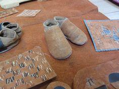 Handmade Barkcloth Baby Shoes.