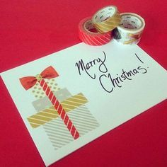 DIY Washi Tape Crafts: Dispenser and Laptop skin Cards Bags Book Covers Art Christmas Card Crafts, Homemade Christmas Cards, Merry Christmas Card, Xmas Cards, Homemade Cards, Handmade Christmas, Christmas Postcards, Christmas Presents, Greeting Cards
