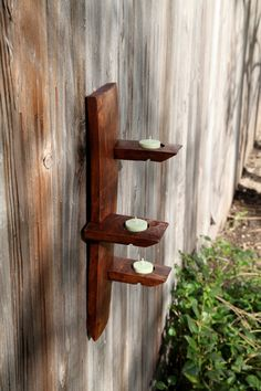 UpRight Candle Holder made from Wine Barrel Staves. $45.00, via Etsy.