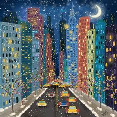 Street Art Print by Joy Laforme New York Christmas, Nyc Art, Winter Light, Pink Sky, City Art, Aesthetic Art, Art Inspo, Canvas Wall Art, Street Art