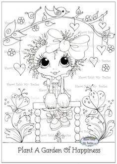 "NEW ""Besties Of Happiness TM"" INSTANT DOWMLOAD Digital Digi Stamps/ Coloring Page Big Eye Big Head Dolls Digi By Sherri Baldy - My Besties Shop"
