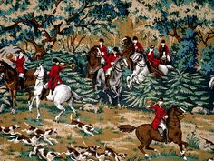 Rich English Horse Riding Hunting Scenes Cotton Fabric Quilting 3 1 2 Yds | eBay