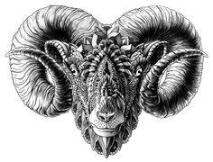 Ram Head Art Print by BioWorkZ | Society6