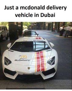 nice Mc Donald delivery car in Dubai