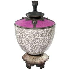 Rick Foris Raku Pottery Crackle Vessel ($399) ❤ liked on Polyvore featuring home, home decor, decorative objects, pottery sculpture, pottery vessels, red home decor, aztec sculpture and black home decor