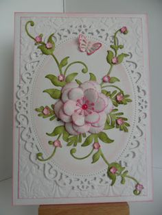 Catty Creations: Pink and White flower. Beautiful work, all the cards she she sells, are funds, for a animal charity in memory of her cats.