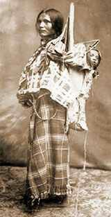 Shoshone woman with cradleboard
