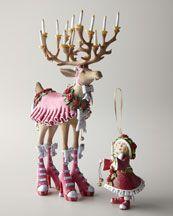 "-3Y4J Patience Brewster ""Dancer"" Reindeer Figure and Elf Ornament"