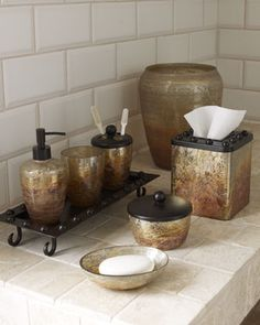 Mission Vanity Accessories Horchow Rustic Gl And Iron Bathroom Set