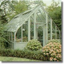 Tudor style greenhouse--- looks like a little chapel