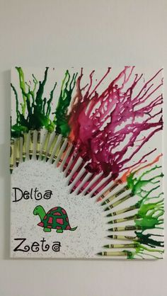 Made this melted crayon art for my roommate. Cute, sweet and simple delta zeta crayon melting art. DIY follow me or my art board for more original crayon meltings all done by me