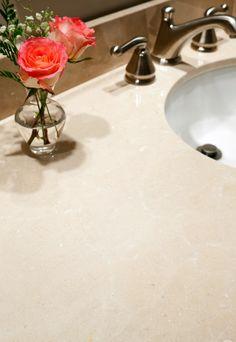 Master bath vanity in Crema Marfil marble with Eased edges. Marble Tiles, Carrara Marble, Master Bath Vanity, Marble Countertops, Bath Vanities, Light Shades, Modern Bathroom, Sink, Elegant