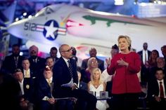 Hillary Clinton, with 'Today' show co-anchor Matt Lauer, speaks at the NBC Commander-in-Chief Forum held at the Intrepid Sea, Air and Space Museum in New York City, Sept. 7, 2016. (Photo: Andrew Harnik/AP)